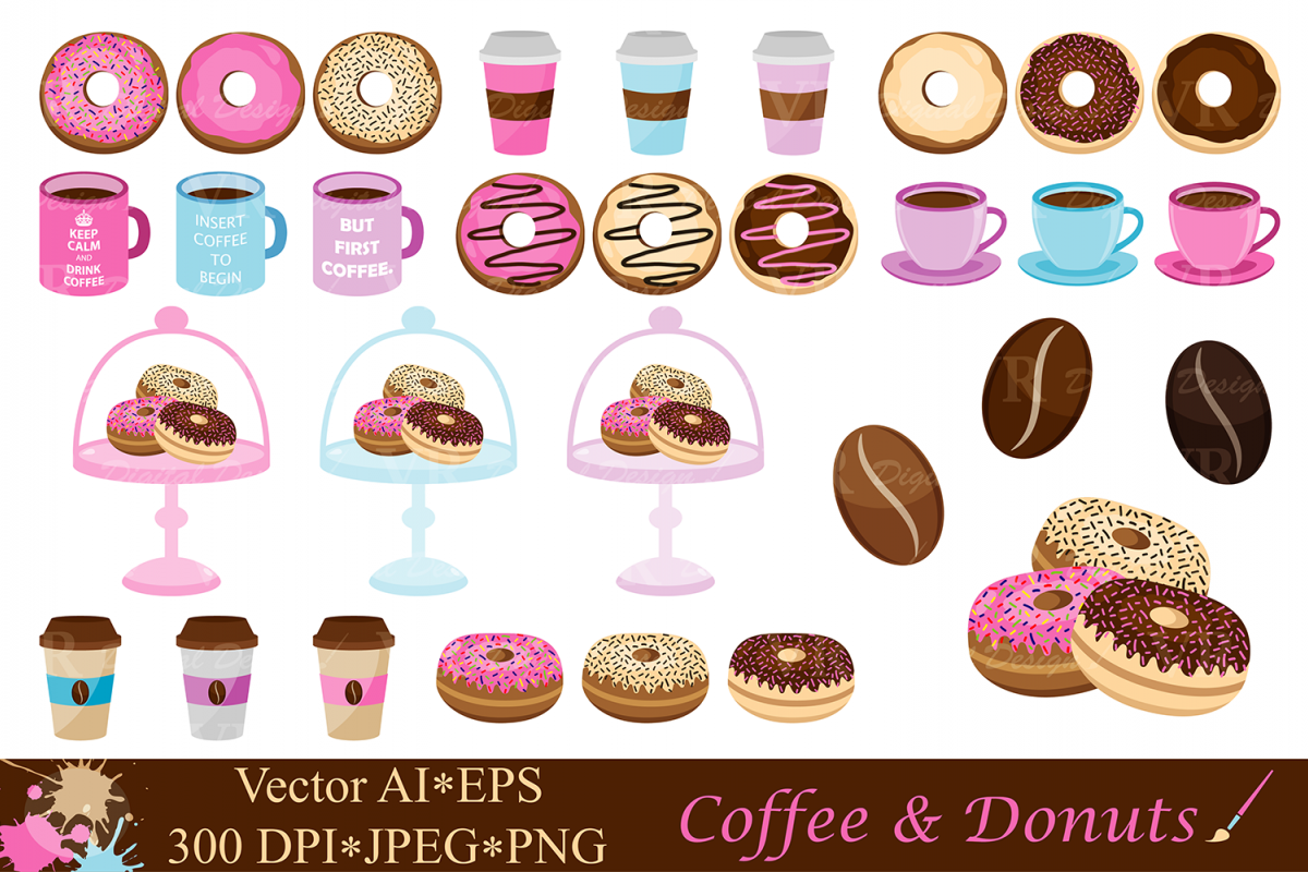 Coffee and . Donuts clipart vector