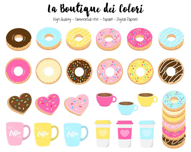 Donut clipart vintage.  doughnut cute digital