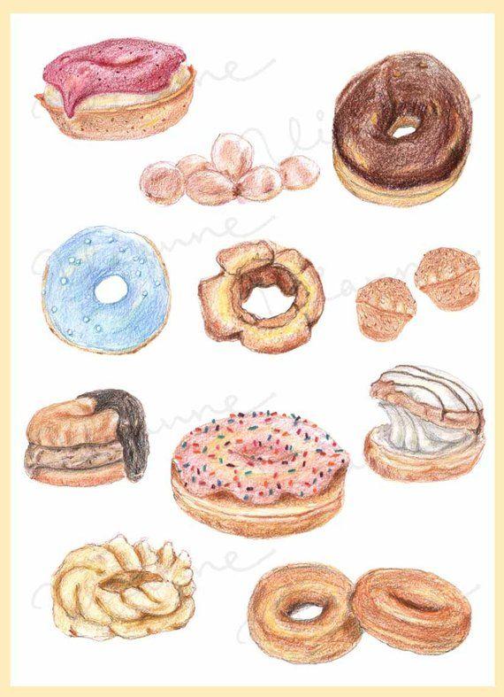 Donut clipart vintage. Clip art sketchy color