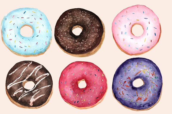 Donut clipart watercolor. Donuts clip art set