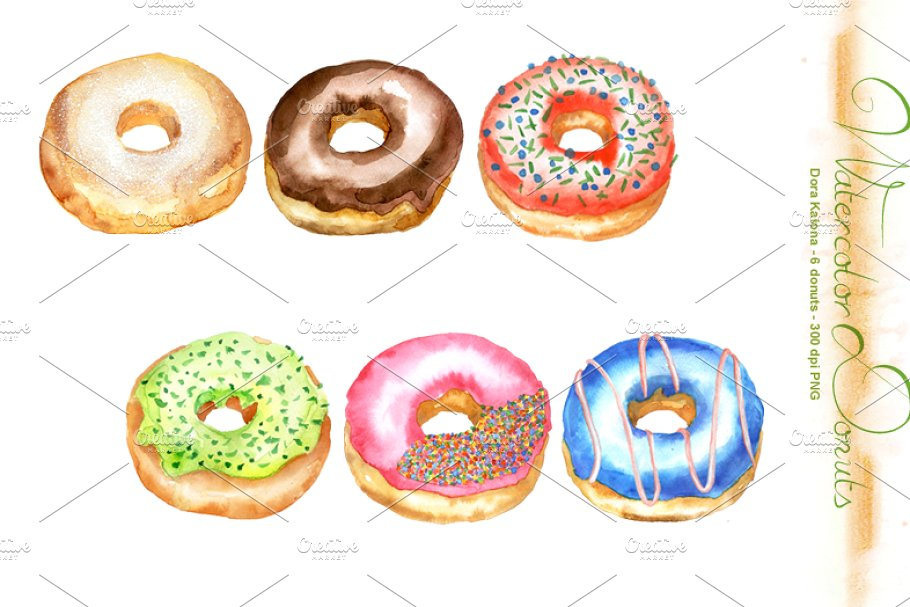 Donuts clip art . Donut clipart watercolor