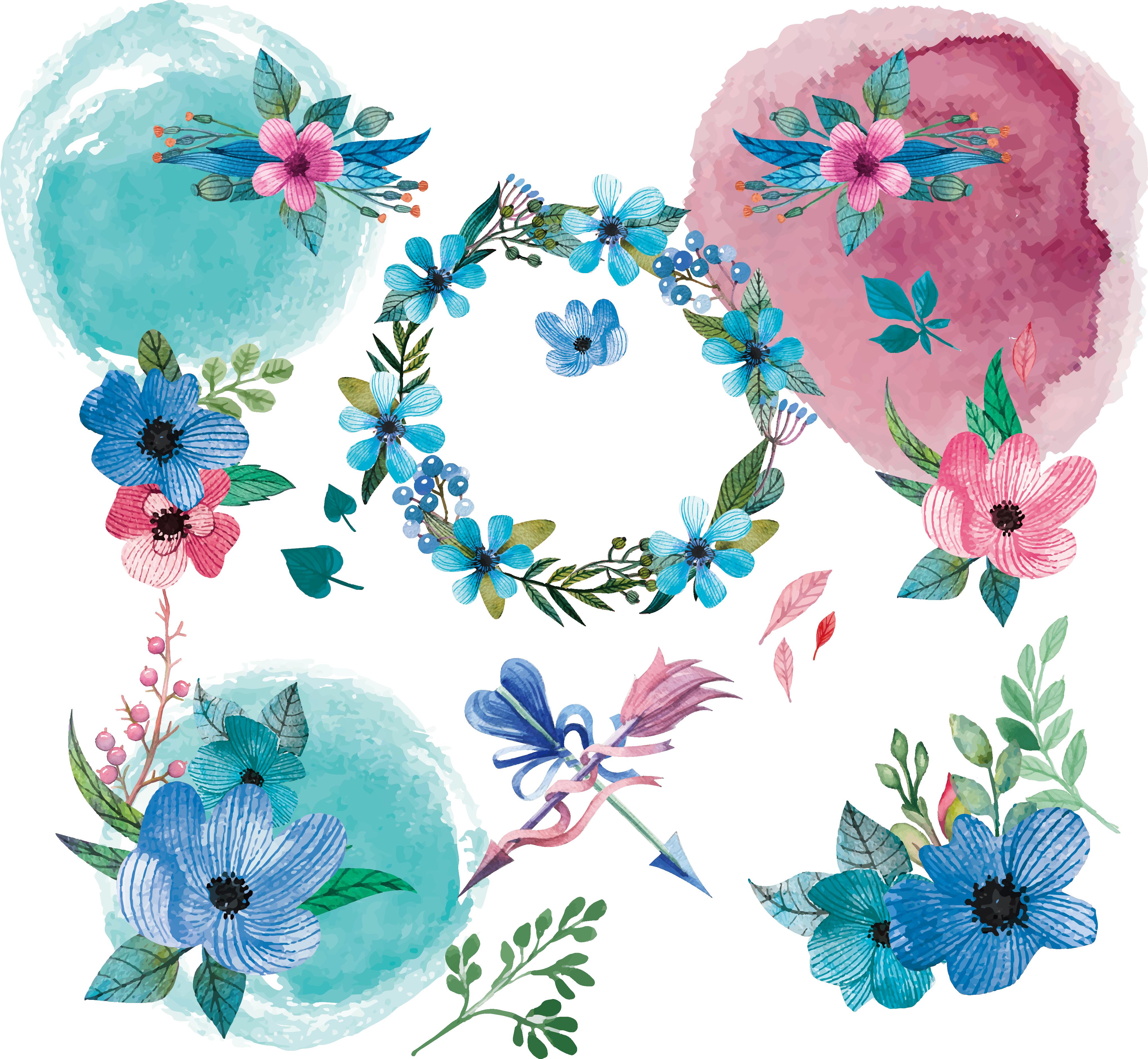 Donut clipart watercolor. Flower floral design clip