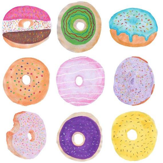 Watercolor doughnuts donut clip. Donuts clipart yellow
