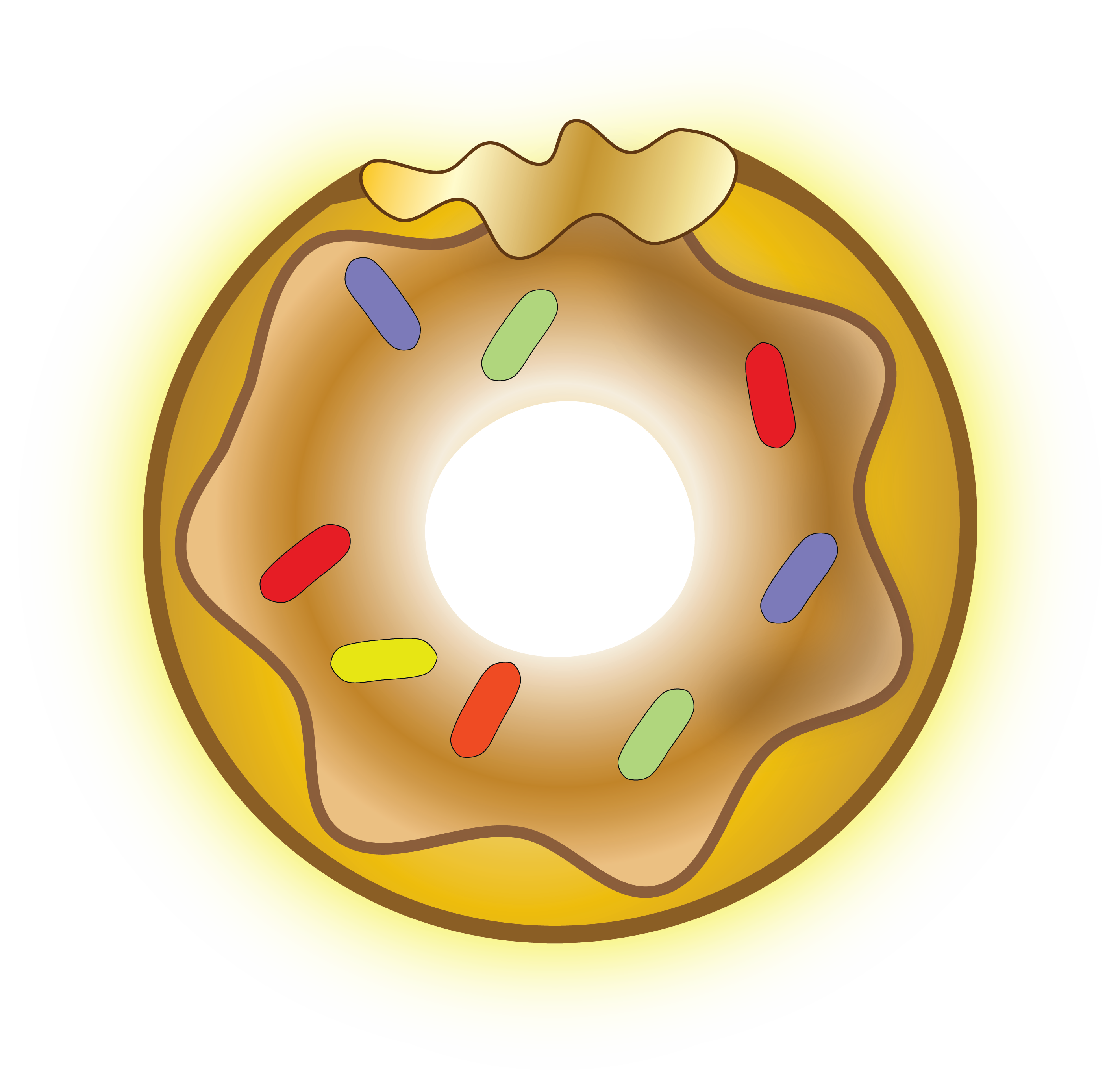 Donut clipart yellow. The gold reflections from