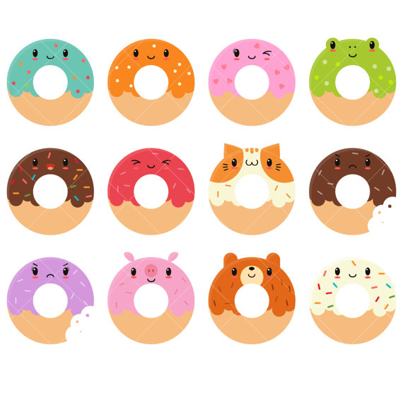 Kawaii cute donut doughnuts. Donuts clipart