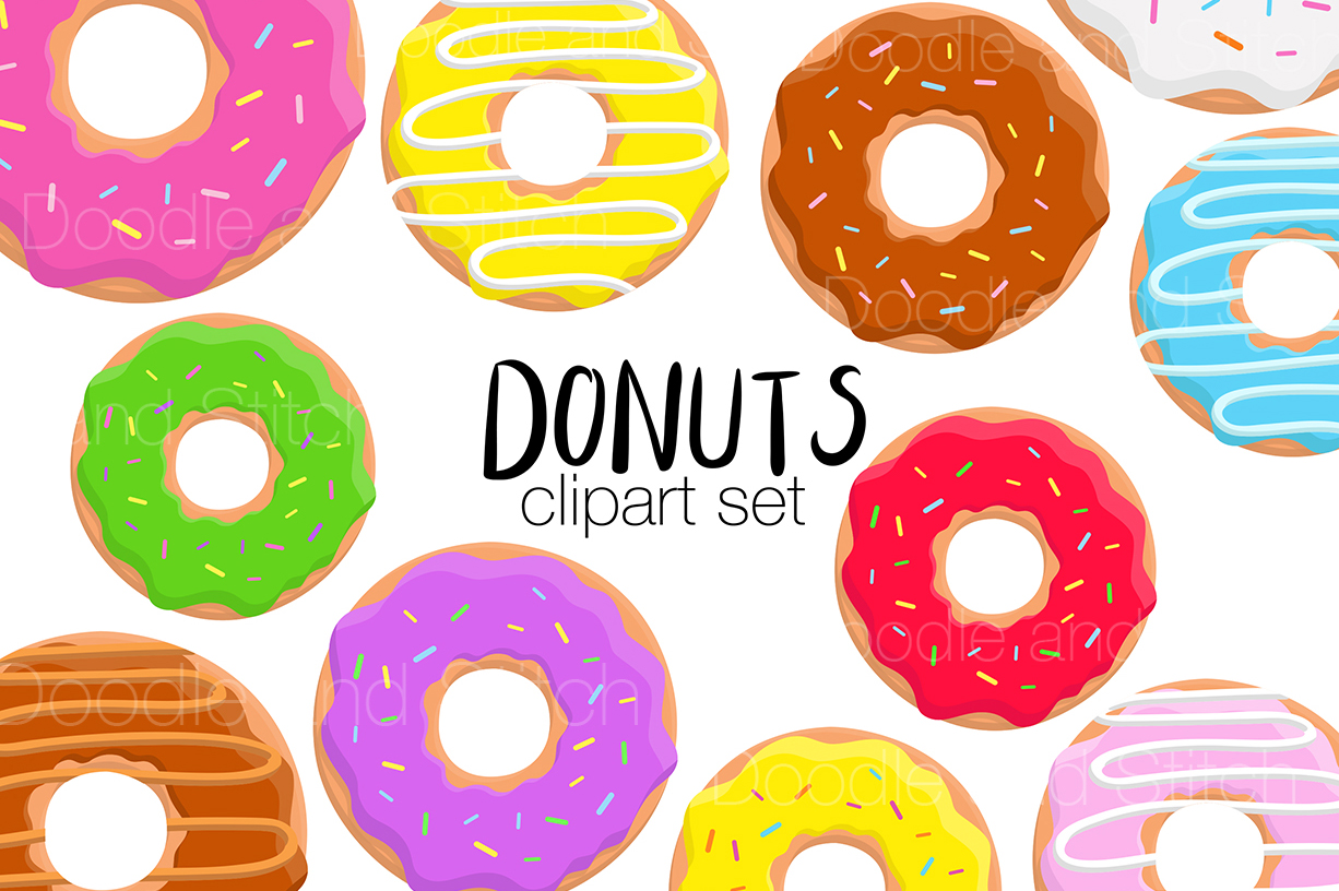 Donuts clipart. Donut illustrations by doodle