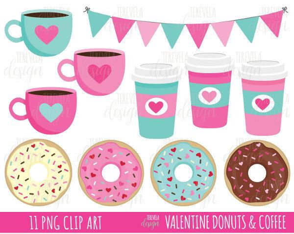 Donuts clipart.  sale valentine coffe