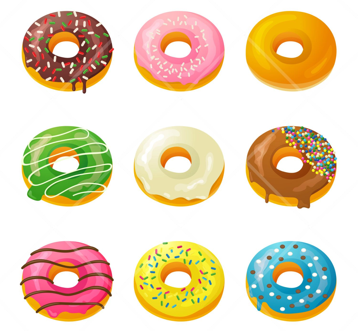 4 clipart donuts. Box of cakes food