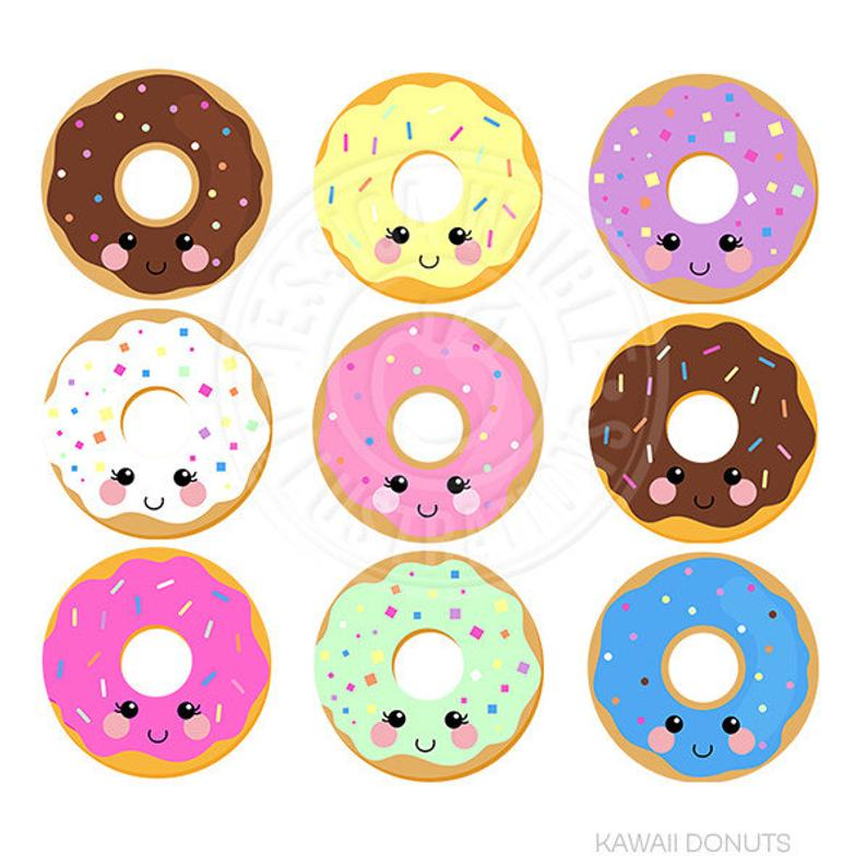 Kawaii donuts digital graphics. Donut clipart cute