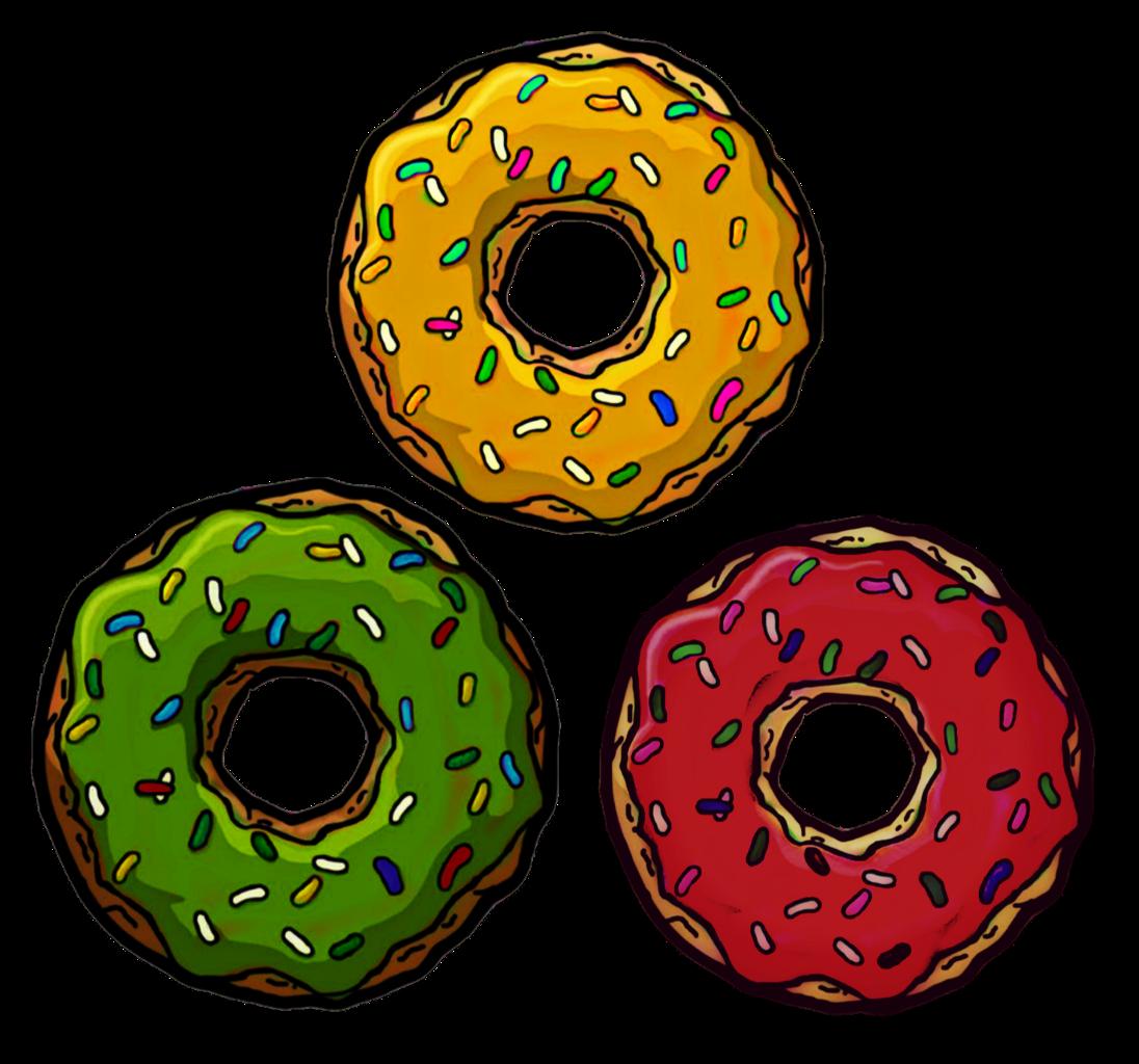 Donuts clipart beignet. Donut vert jaune rouge