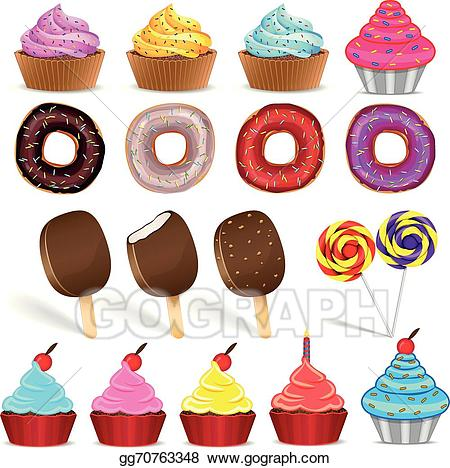 Donuts clipart candy. Vector set of ice