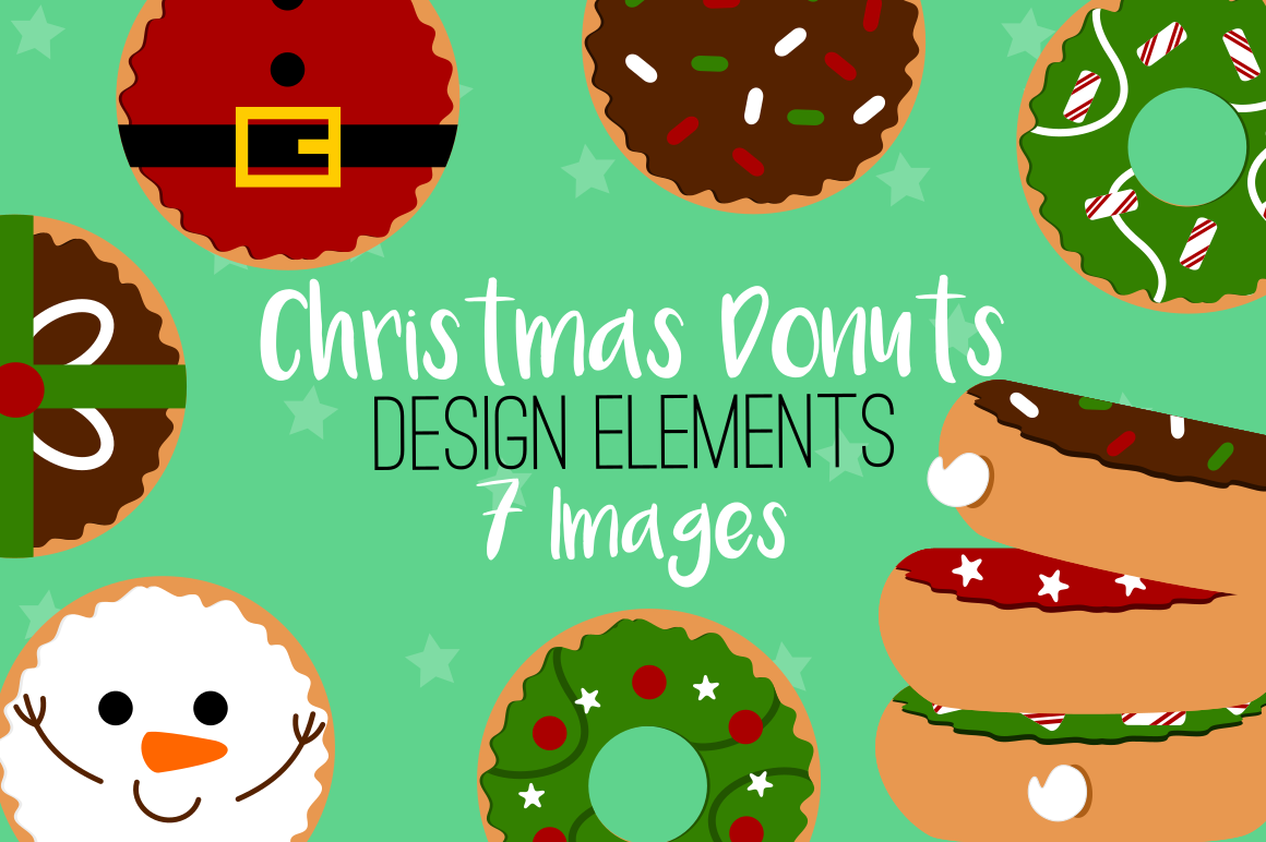 Graphics illustrations . Donuts clipart christmas