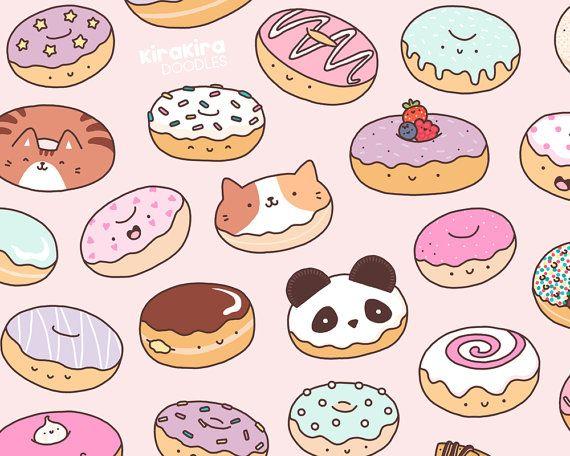 Donuts clipart doodles. Mmm kawaii donut doodle