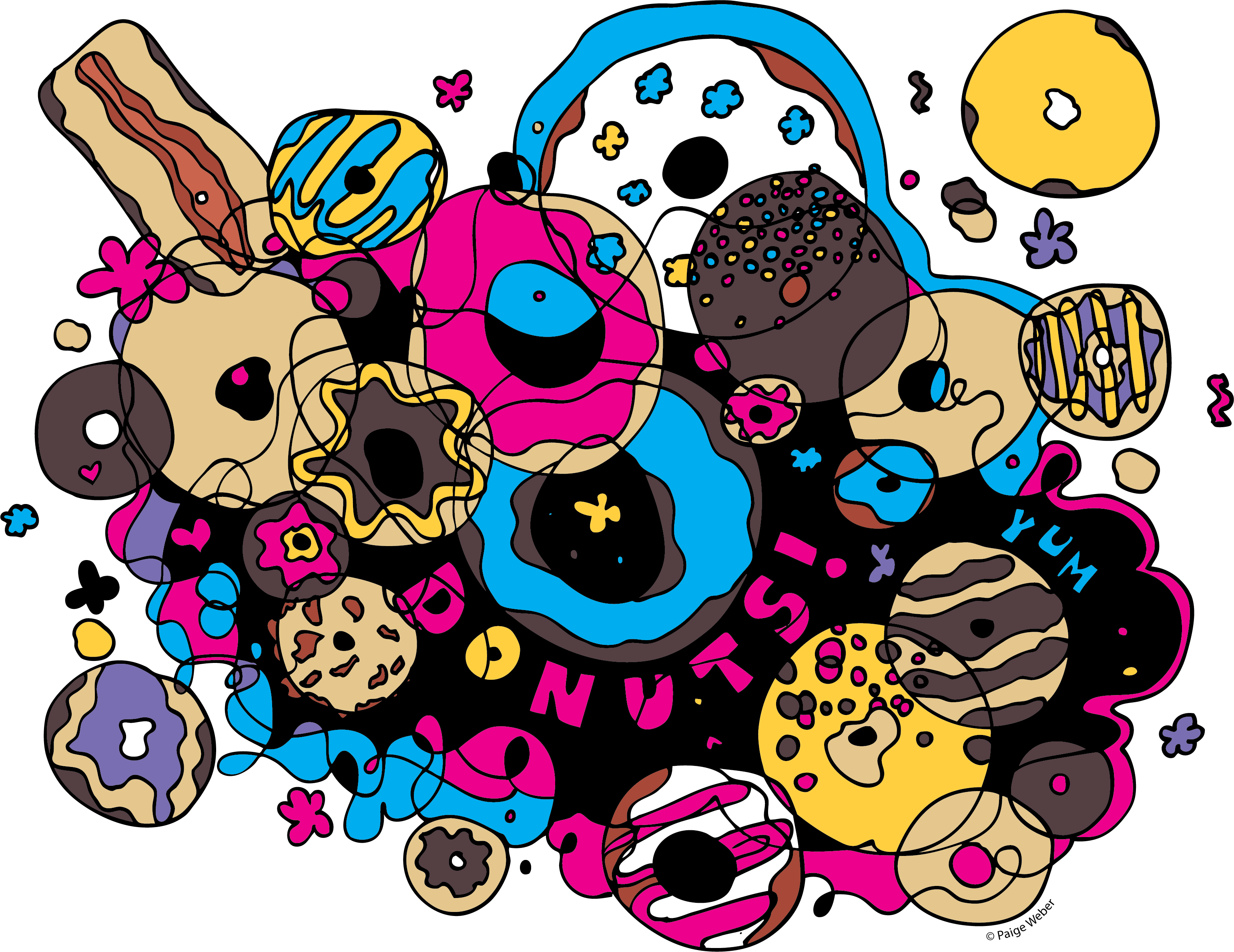 Digital doodle skillshare projects. Donuts clipart doodles