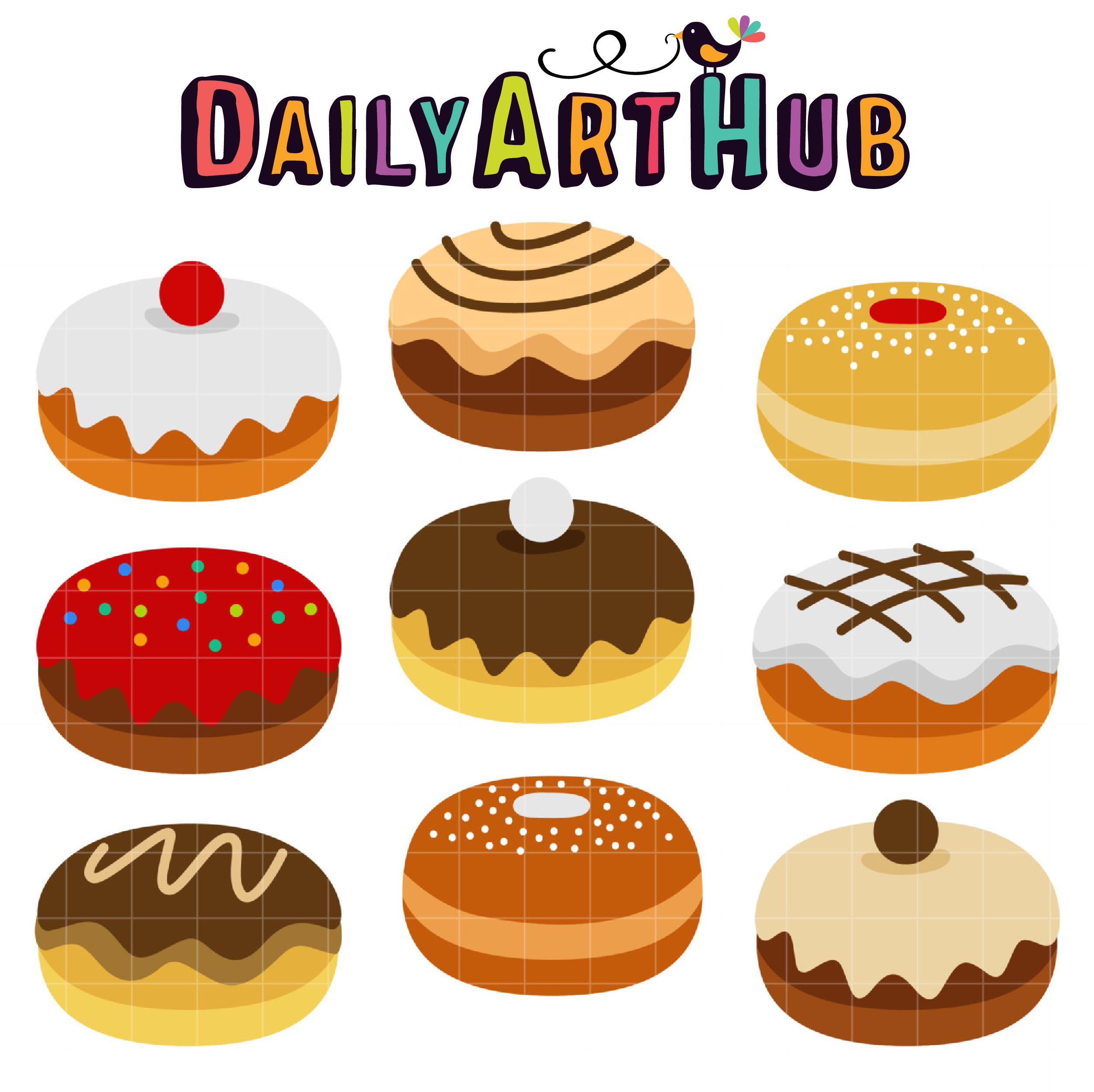 Sufganiyah clip art set. Donuts clipart hanukkah