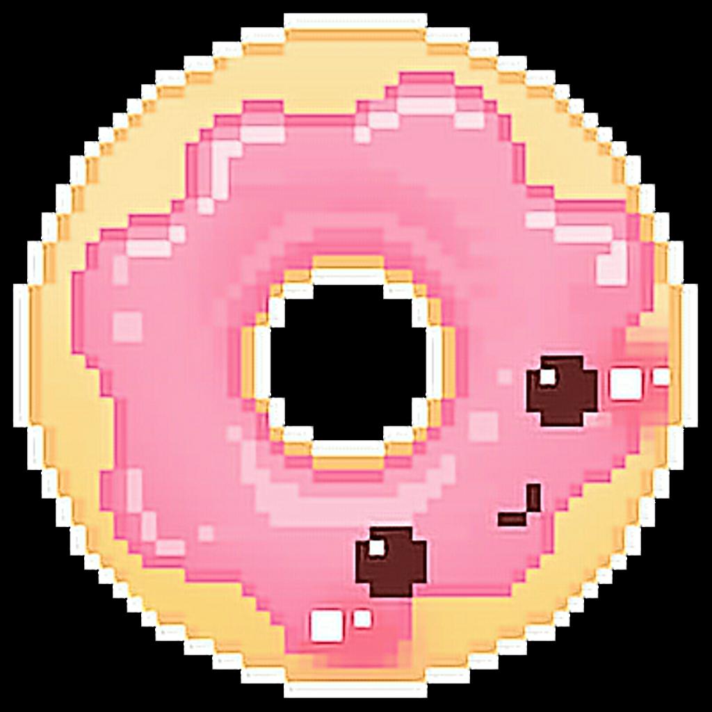 Doughnut clipart kawaii. Pixel art donuts kavaii