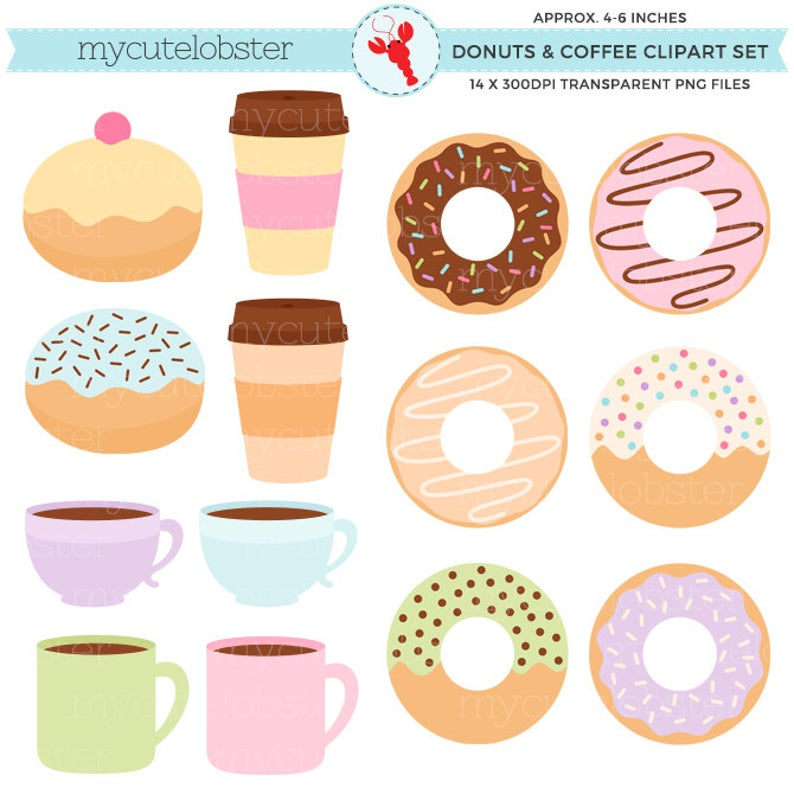 Donuts clipart pastel. And coffee set doughnuts