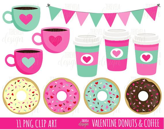 Donuts clipart valentines. Valentine s coffee and