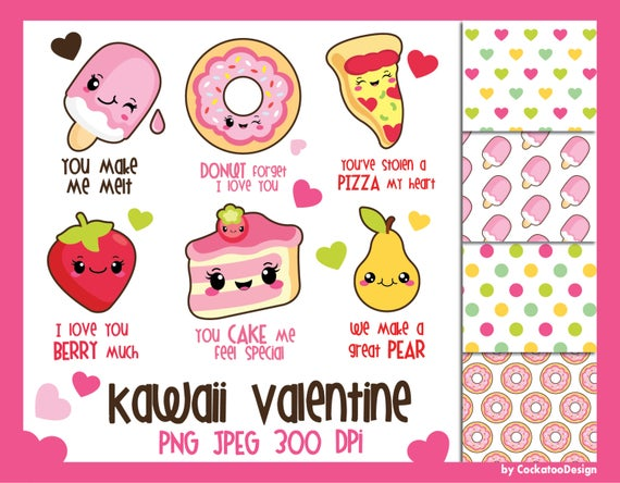 Valentine kawaii . Donuts clipart valentines