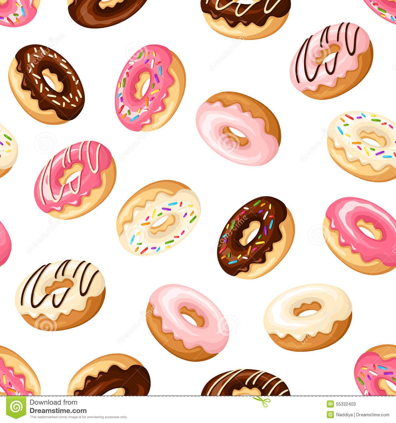 Doughnut clipart background free. Seamless with donuts vector