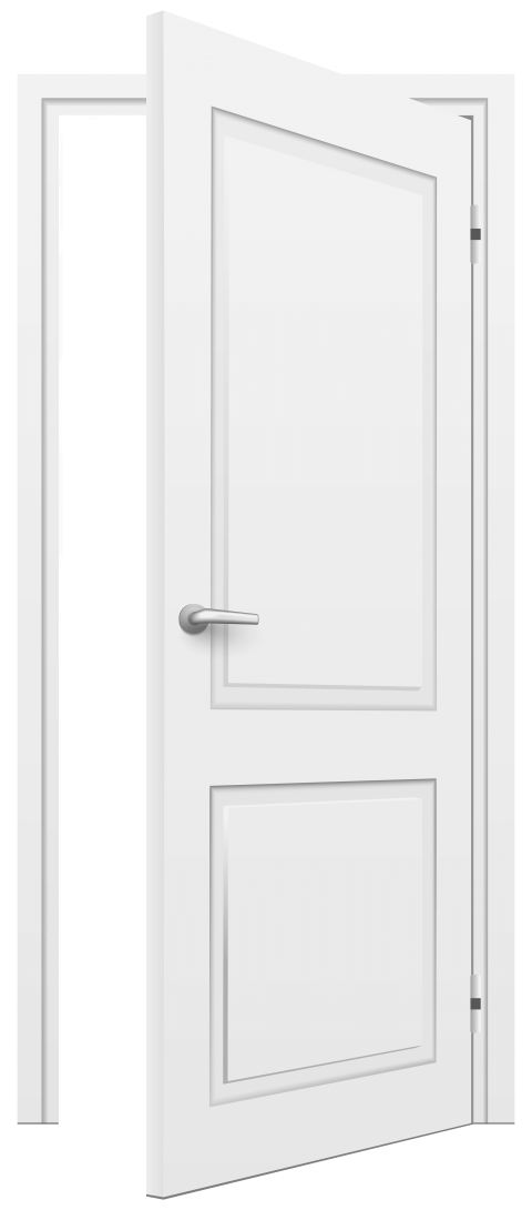 Open white png free. Door clipart 2 door