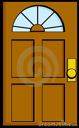 Elegant front with centralazdining. Door clipart