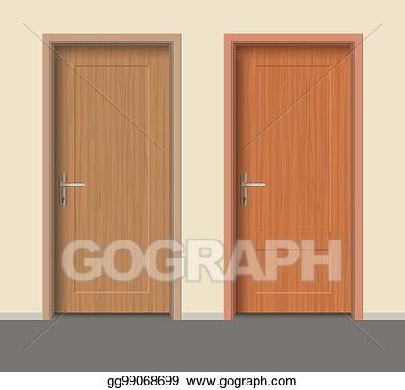 Door clipart apartment door. Vector stock wooden set