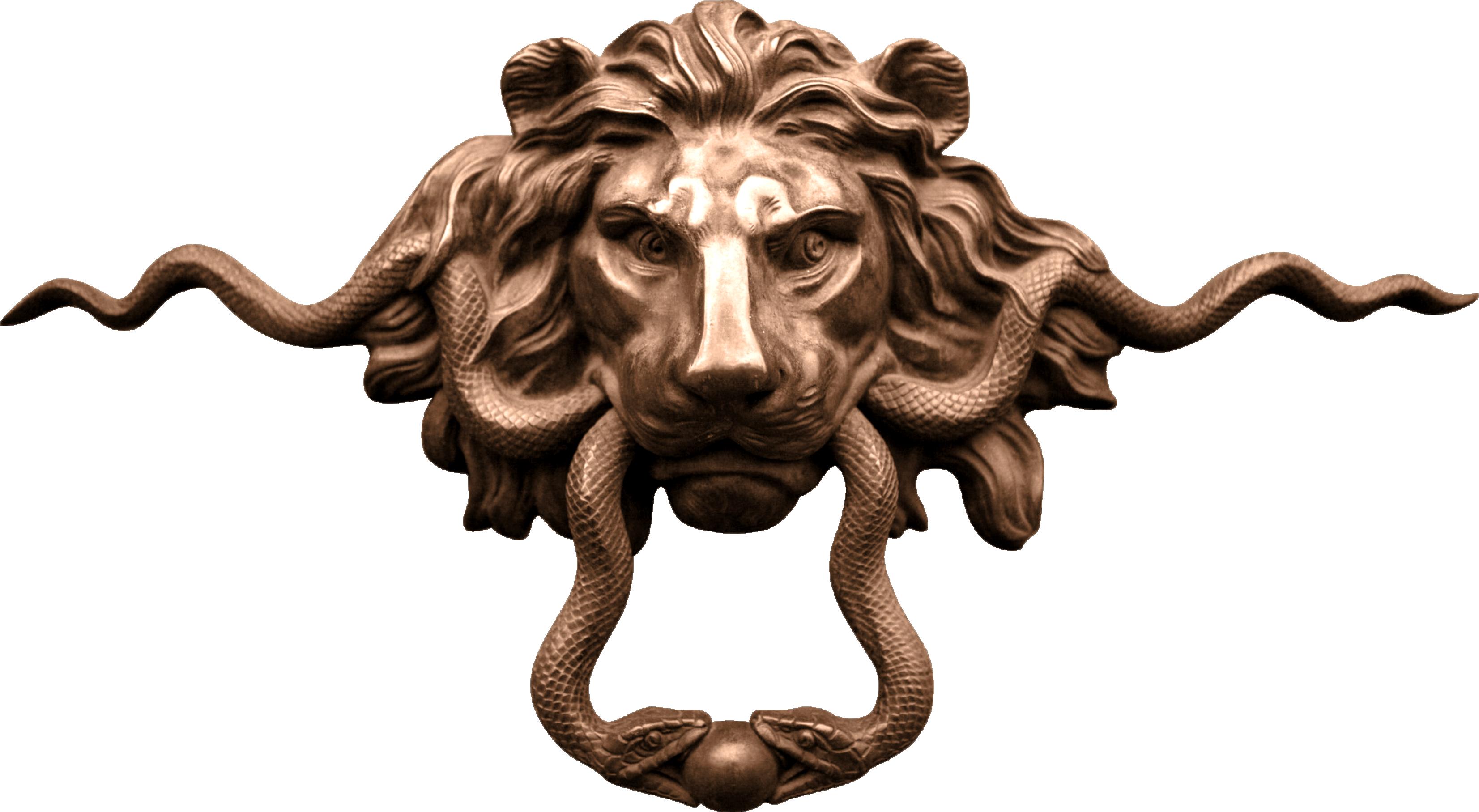 Lion knocker handle copper. Door clipart big door