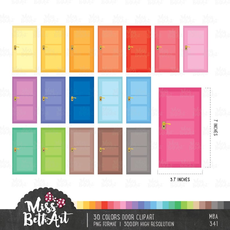 colors instant download. Door clipart colorful door