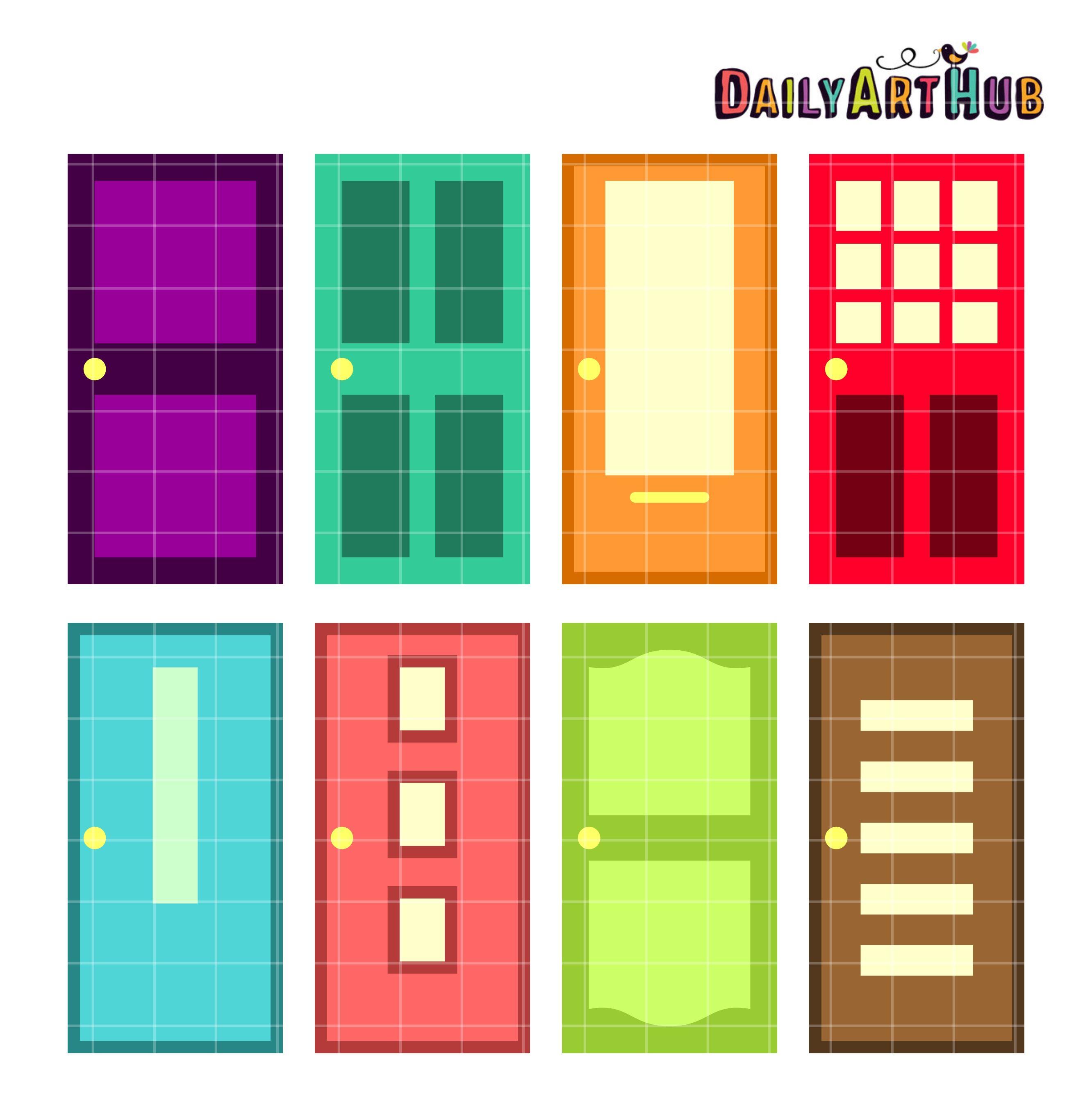 Door clipart colorful door. Doors clip art set
