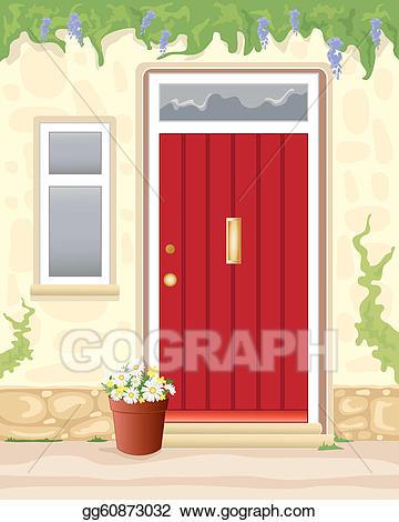 Vector illustration stock clip. Door clipart cottage door