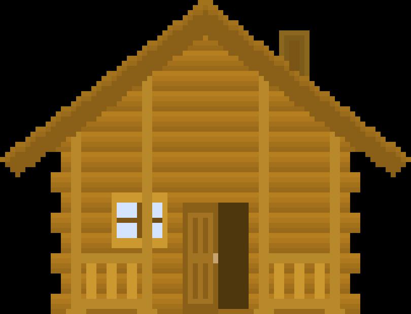 Log cabin opening pixel. Door clipart cottage door