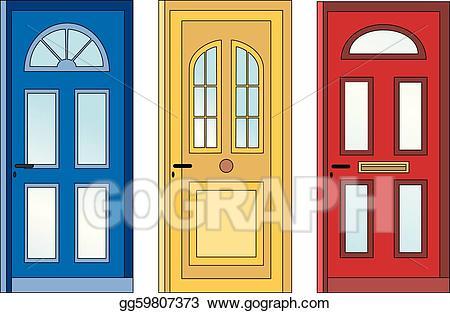 Vector stock red yellow. Door clipart front door