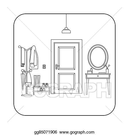 Vector art hallway interior. Door clipart line drawing