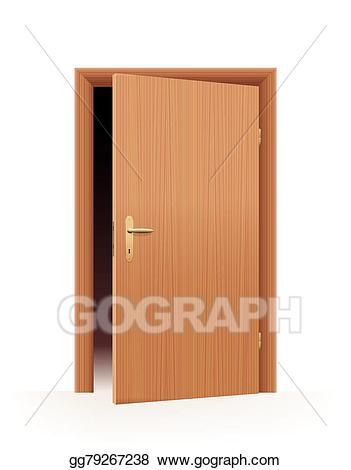 Vector illustration half stock. Door clipart slightly open door