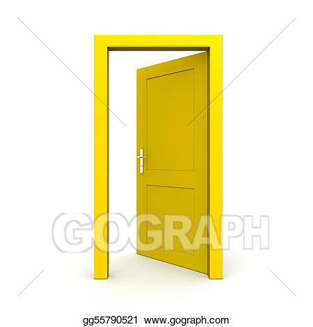 Door clipart yellow door. Stock illustration open single