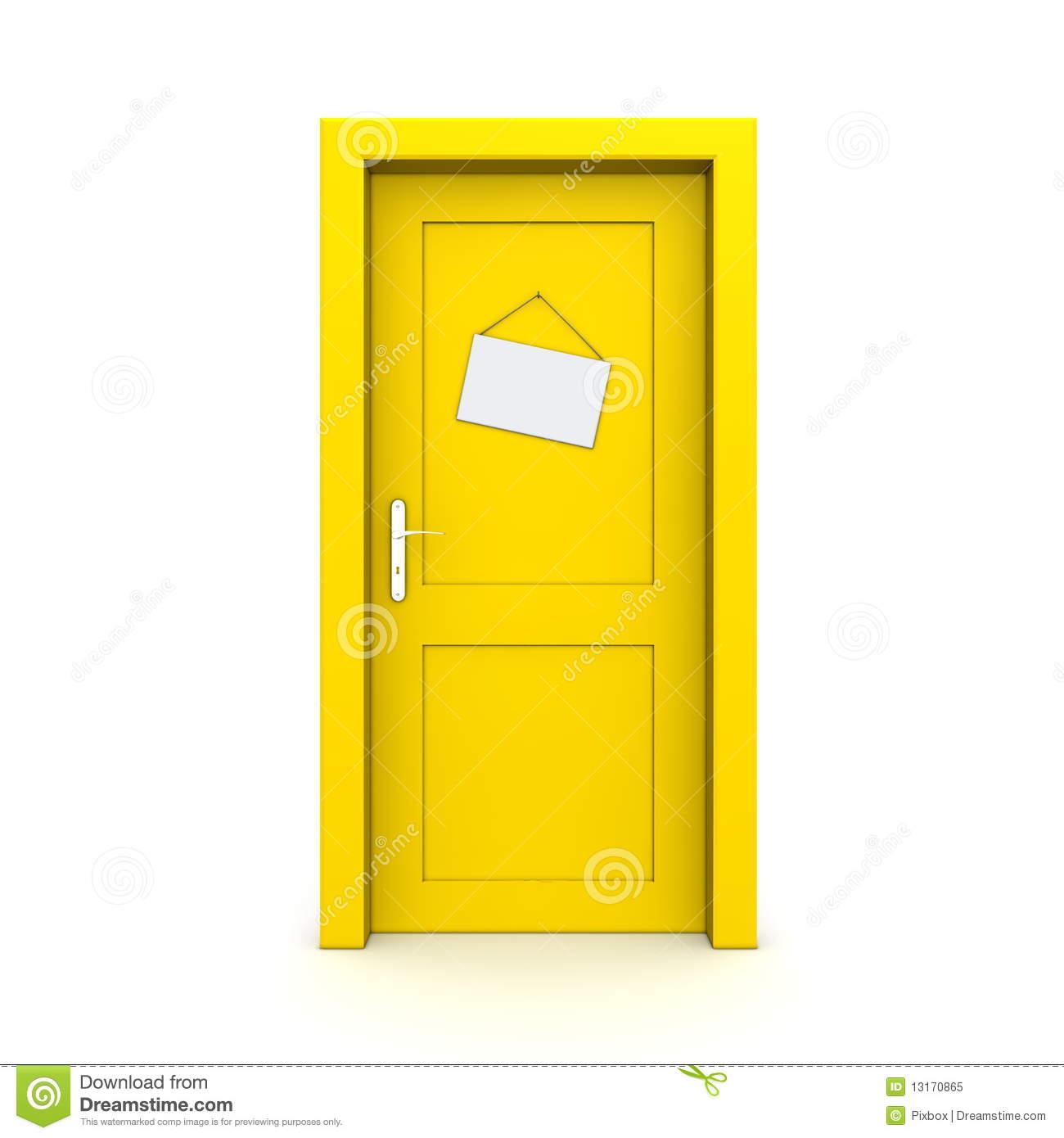 Closed with dummy panda. Door clipart yellow door