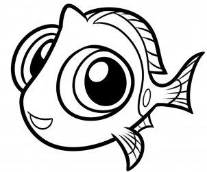 How to draw step. Dory clipart coloring page baby