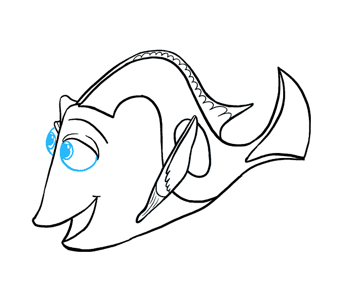 Dory clipart fish fin. How to draw in