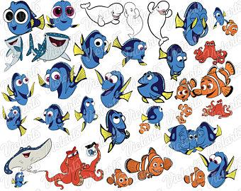Dory clipart fishy. Nemo etsy