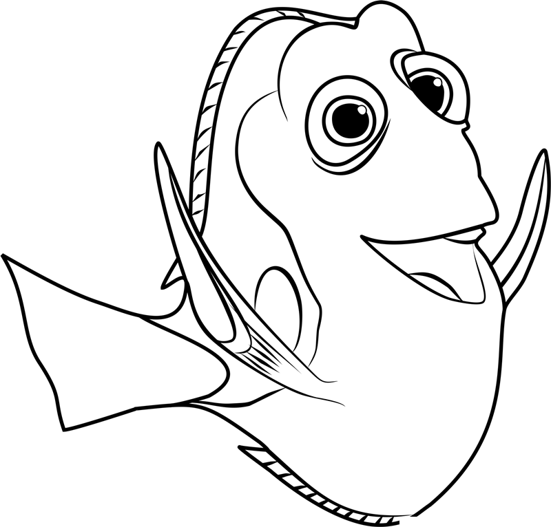 Dory clipart outline. Finding fish black and