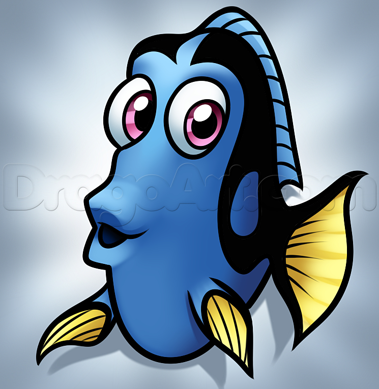 Drawing easy step by. Dory clipart simple