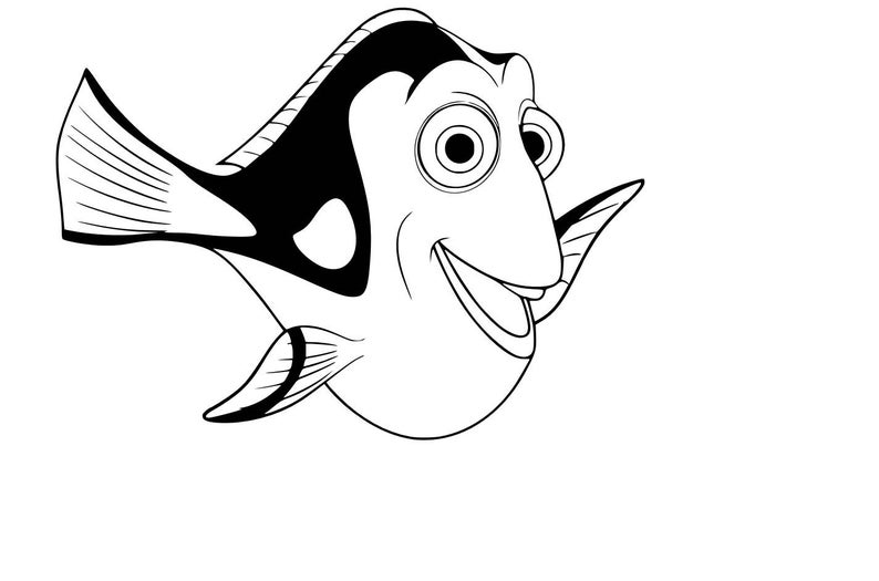 Dory clipart svg. Blue tang fish cutting