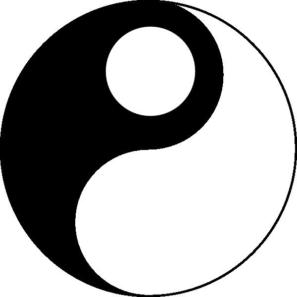 Yin yang dots clip. Dot clipart black and white