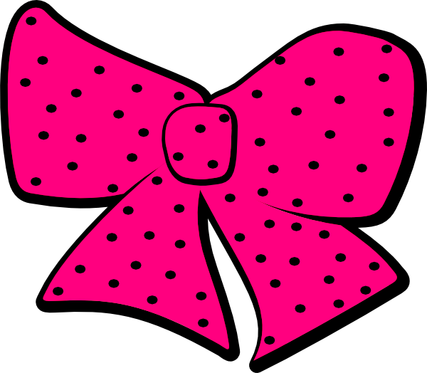 Pink with dots clip. Dot clipart black hair bow