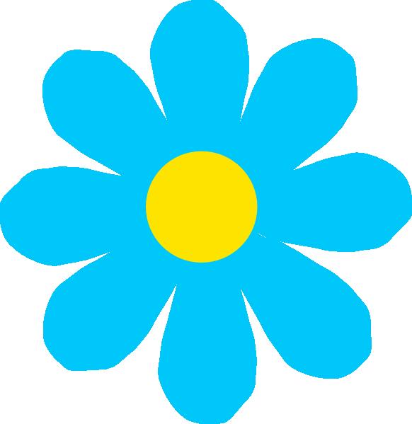 Blue flower clip art. Dot clipart bright colored