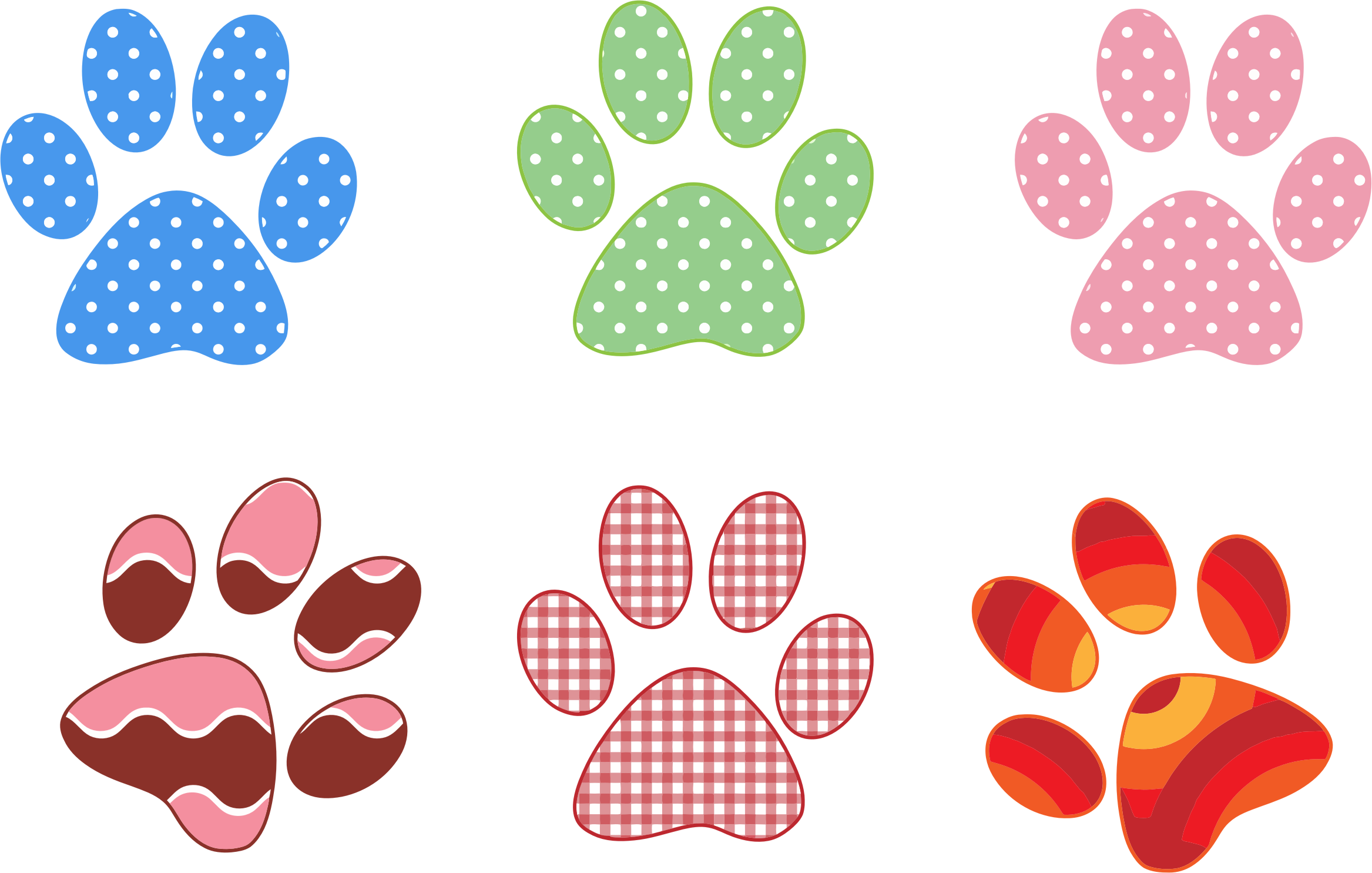 Paw prints big image. Pocket clipart colorful