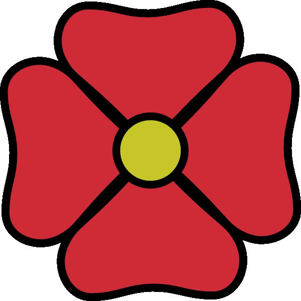 Red flower clip art. Dot clipart four
