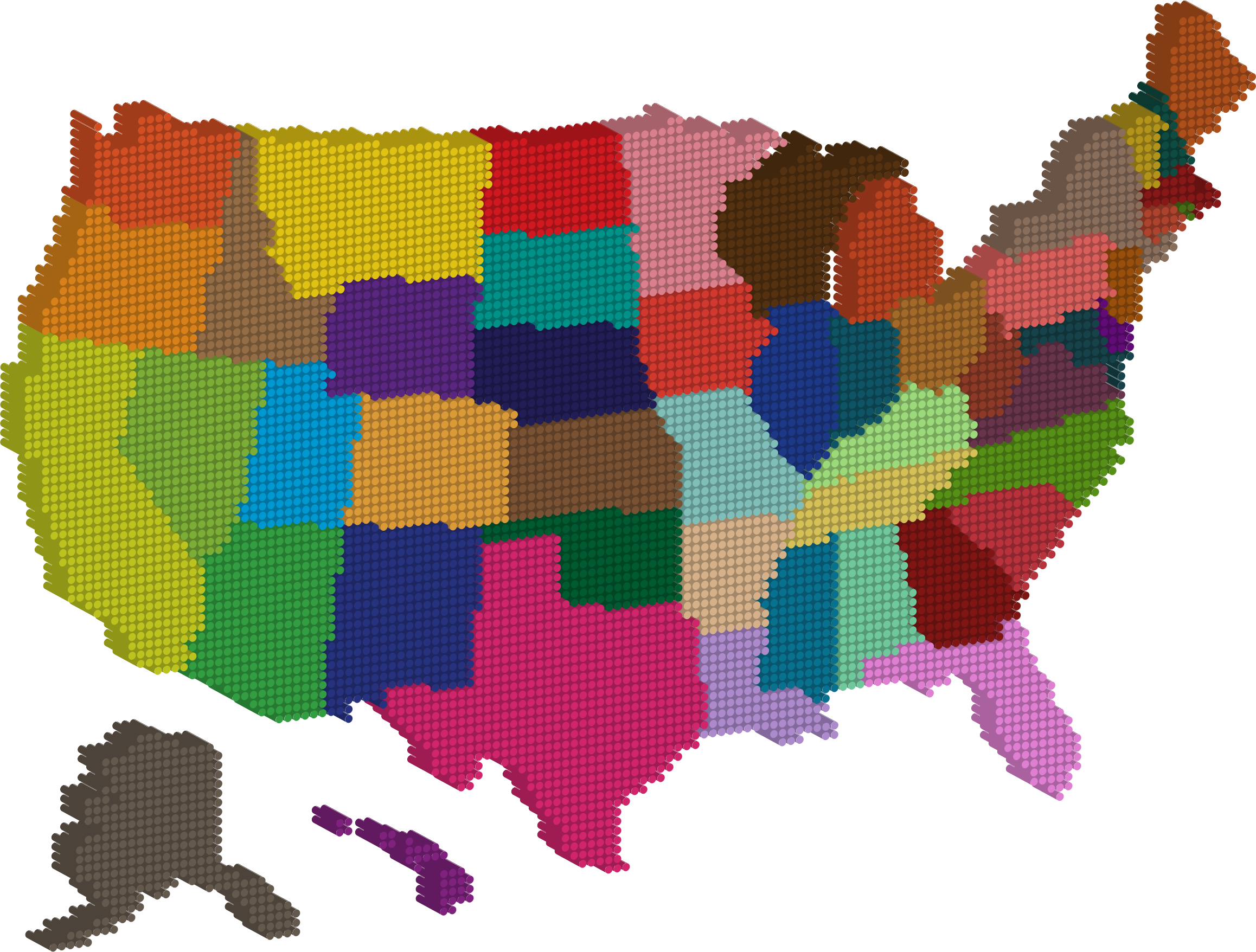D multicolored united states. Dot clipart multicolor