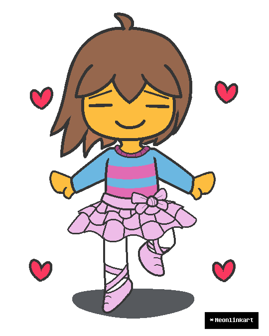 Undertale frisk and her. Dot clipart neon
